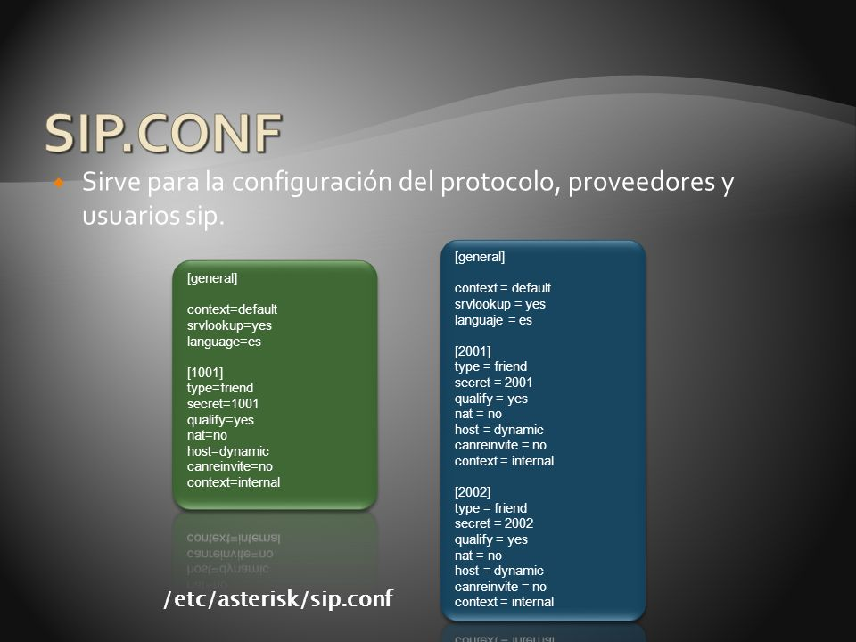 SIP.CONF Sirve para la configuración del protocolo, proveedores y usuarios sip. [general] context = default.